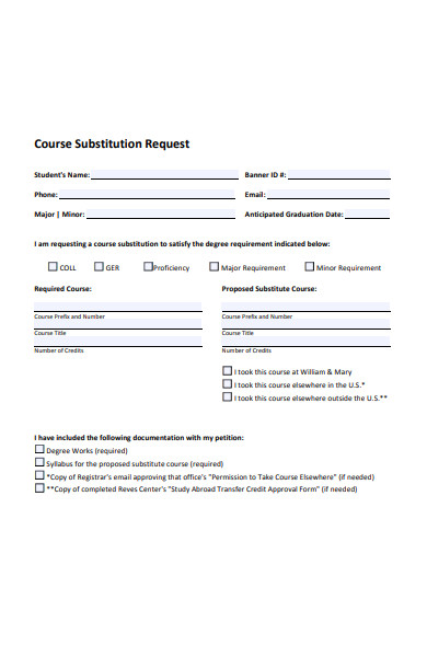 course substitution request form