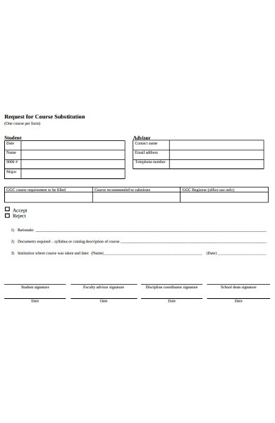 course substitution requestion form
