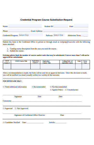 credential program course substitution form