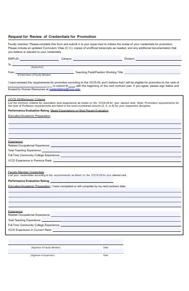 credentials promotion form