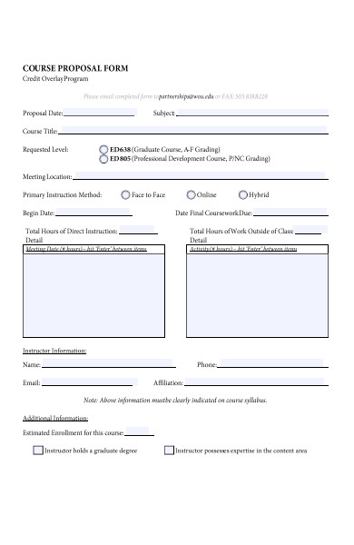 credit overlay course proposal form