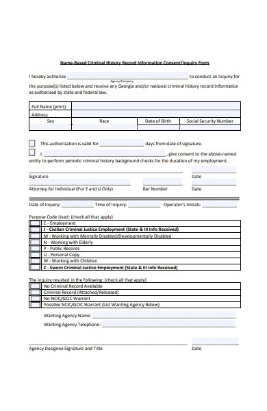 criminal consent inquiry form