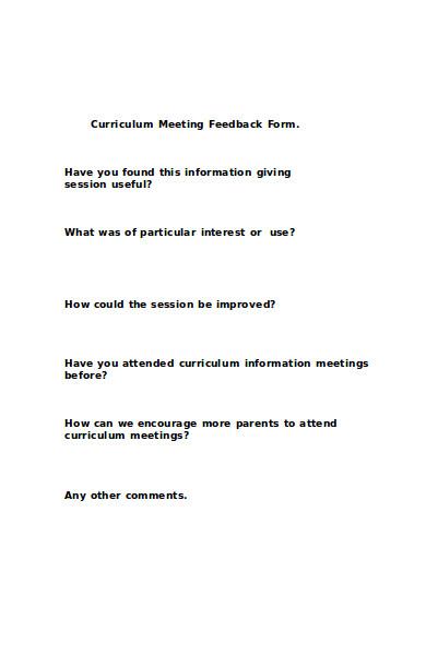 curriculum meeting feedback form