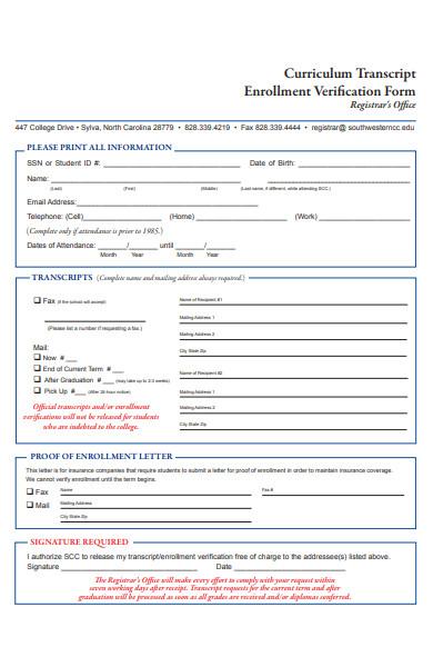 curriculum transcript enrollment verification form
