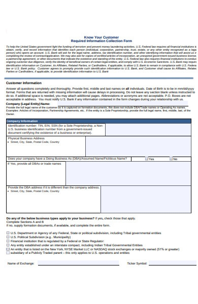 customer collection information form