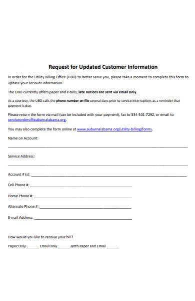 customer detail information form