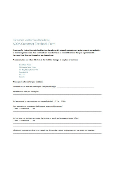 customer feedback service form sample