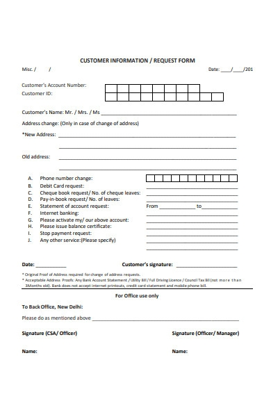 customer information request form
