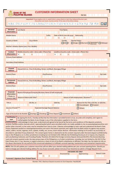 customer information sheet form