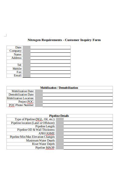 customer inquiry form