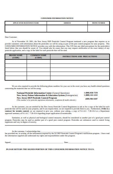 customer notice information form