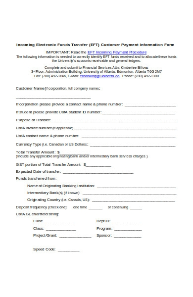 customer payment information form