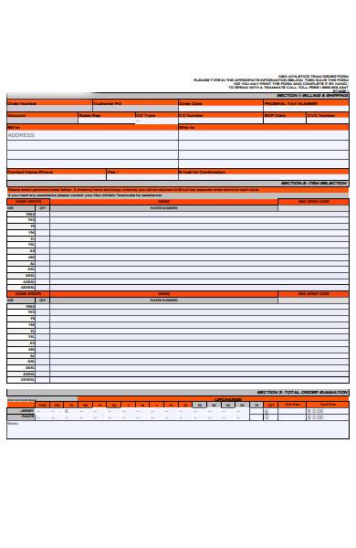 customer uniform order form