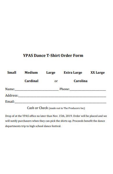 dance t shirt order form