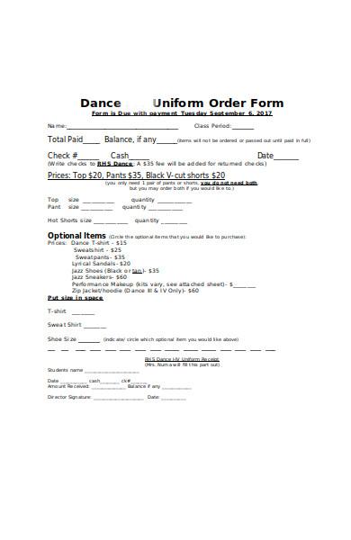 dance uniform order form