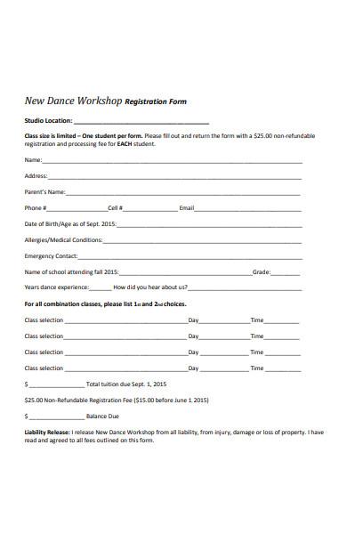 dance workshop registration forms