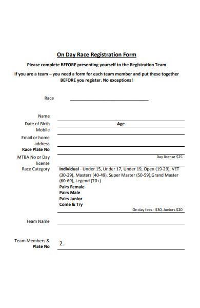 day race registration form