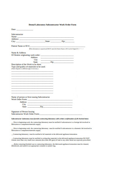 dental subcontractor work order form