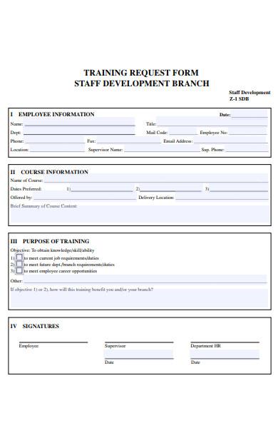 development training request form
