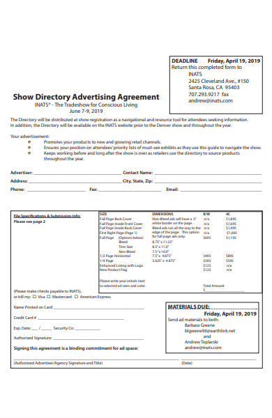 directory advertising agreement form