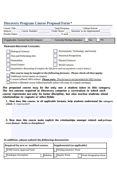 discovery program course proposal form