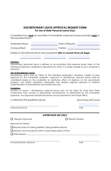 discretionary leave approval request form