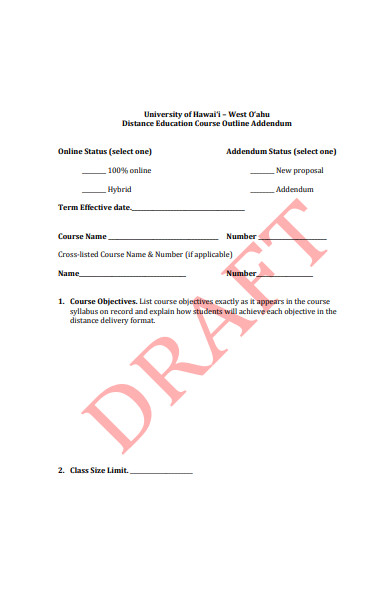 distance learning course approval form