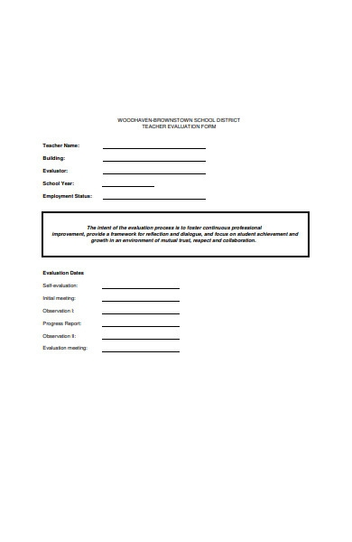 district school teacher evaluation form