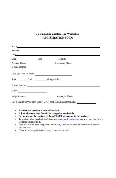 divorce workshop registration forms