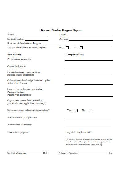 doctoral student progress report form