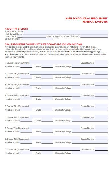 dual enrollment verification form