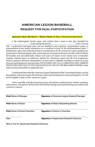 dual participation form