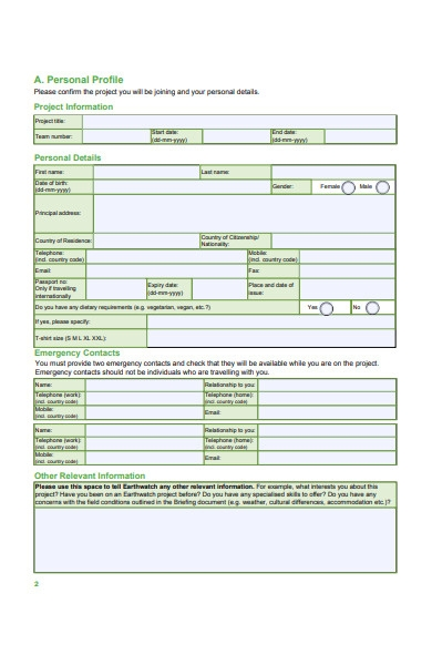 earth watch participation form