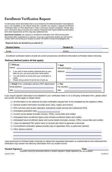 editable enrollment verification form