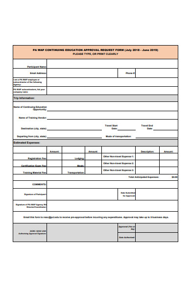 education approval request form