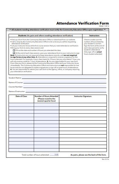education attendance verification form