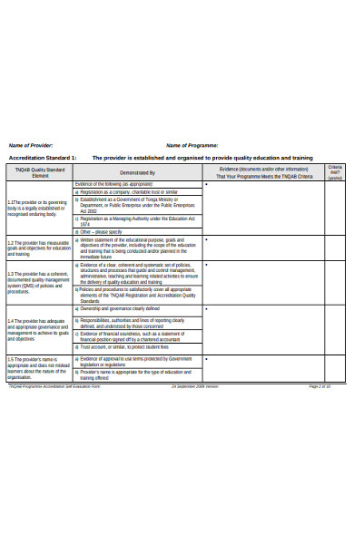 education self evaluation form