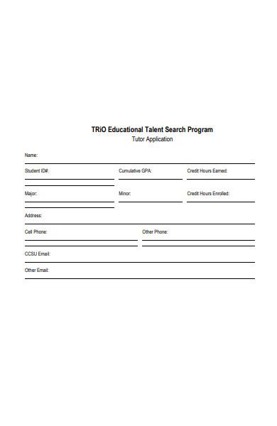 educational tutor application form