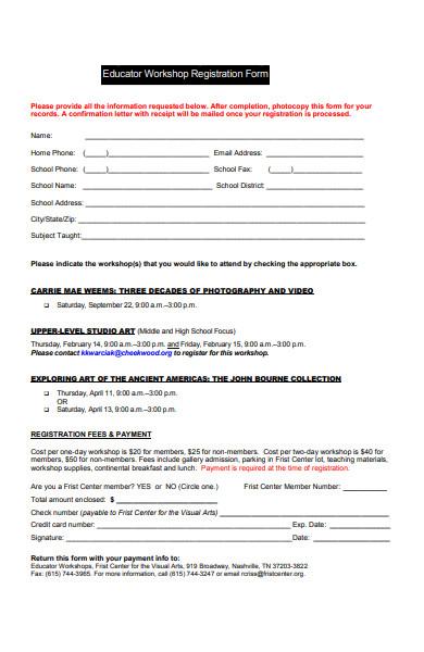 educator workshop registration form