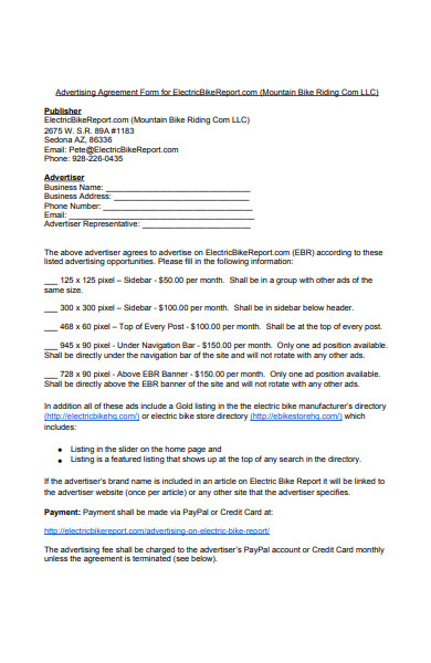 electric bike advertising agreement form