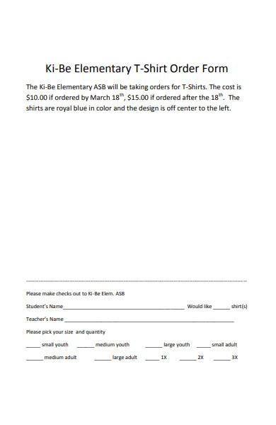 elementary t shirt order form
