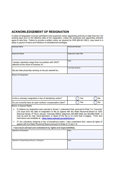 employee acknowledgement resignation form