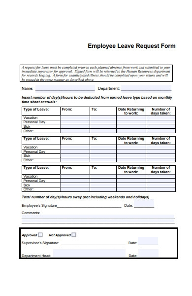 employee apply leave request form