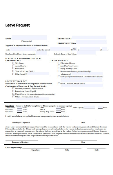 employee leave approval request form