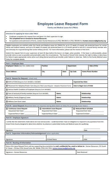 employee leave request form for family