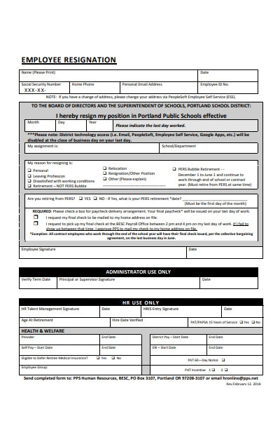 employee position resignation form