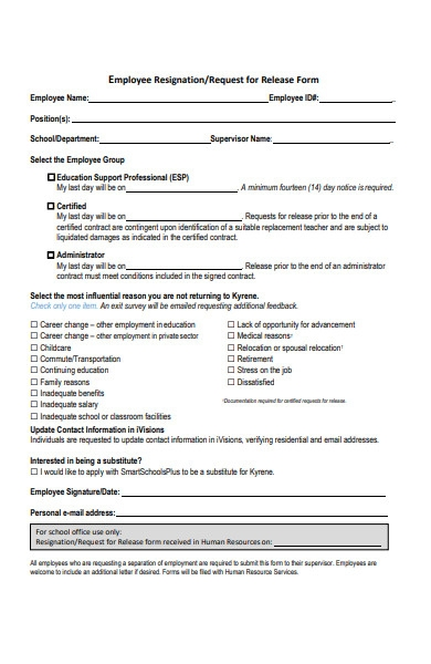 employee request resignation form