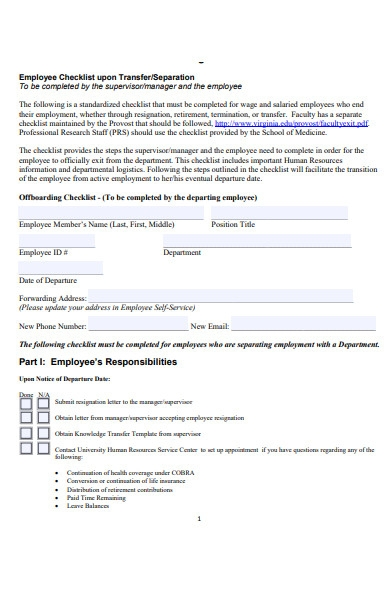 employee resignation checklist form