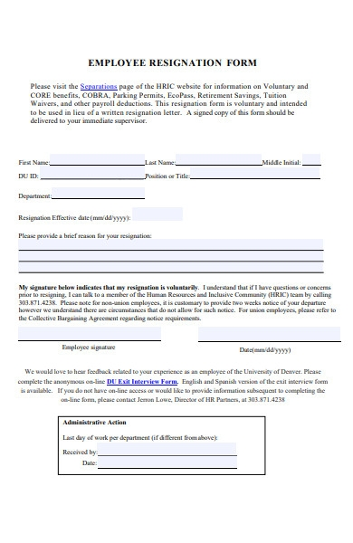 employee resignation clearance form