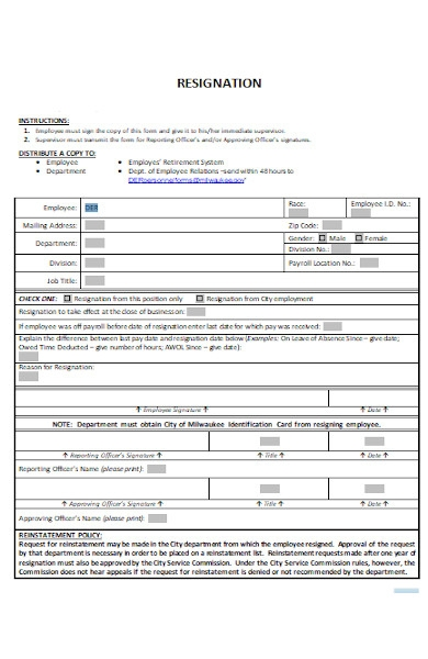 employee resignation period form